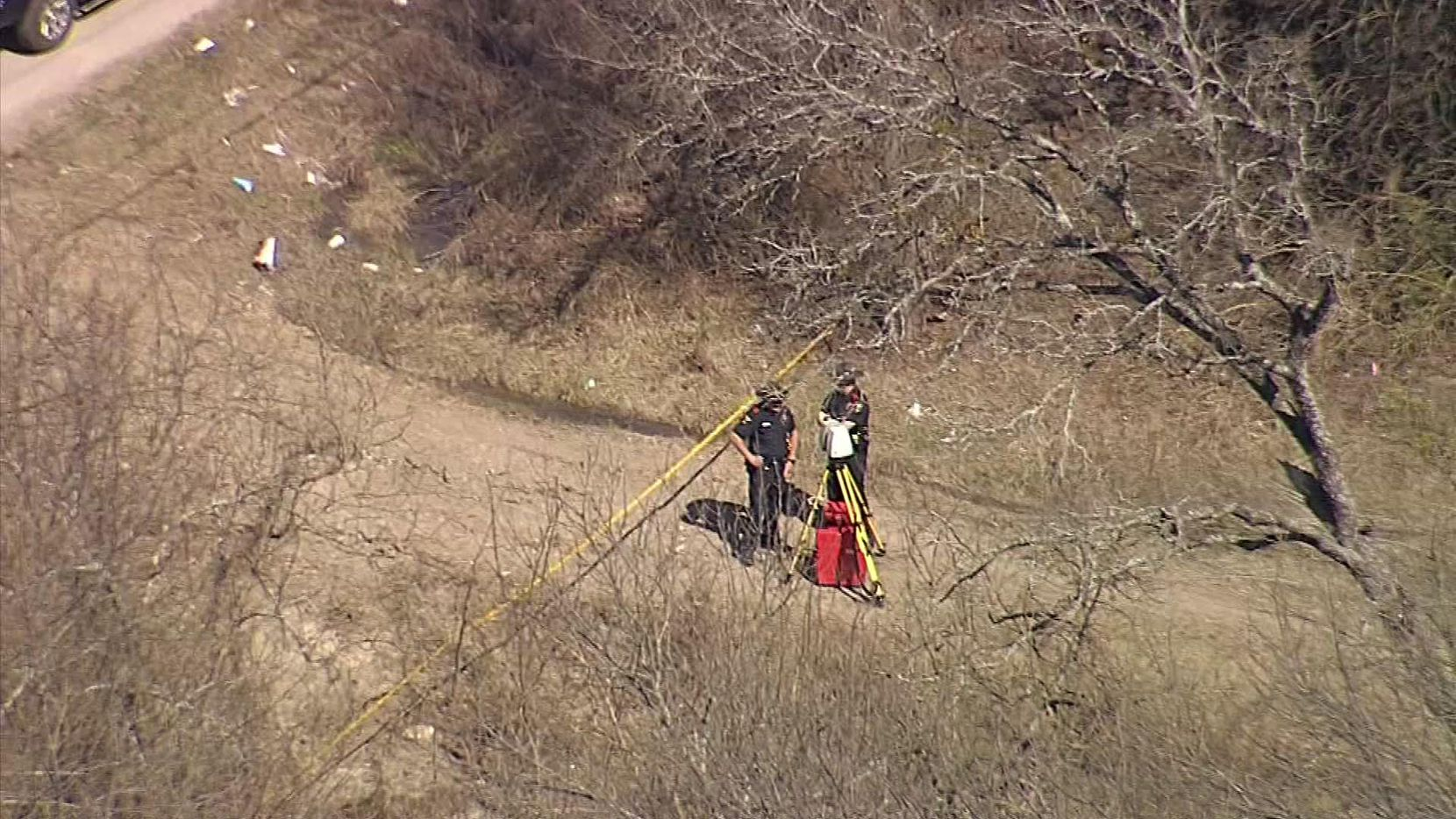 Yellow tape marked the scene where human remains were found Wednesday in Anna.
