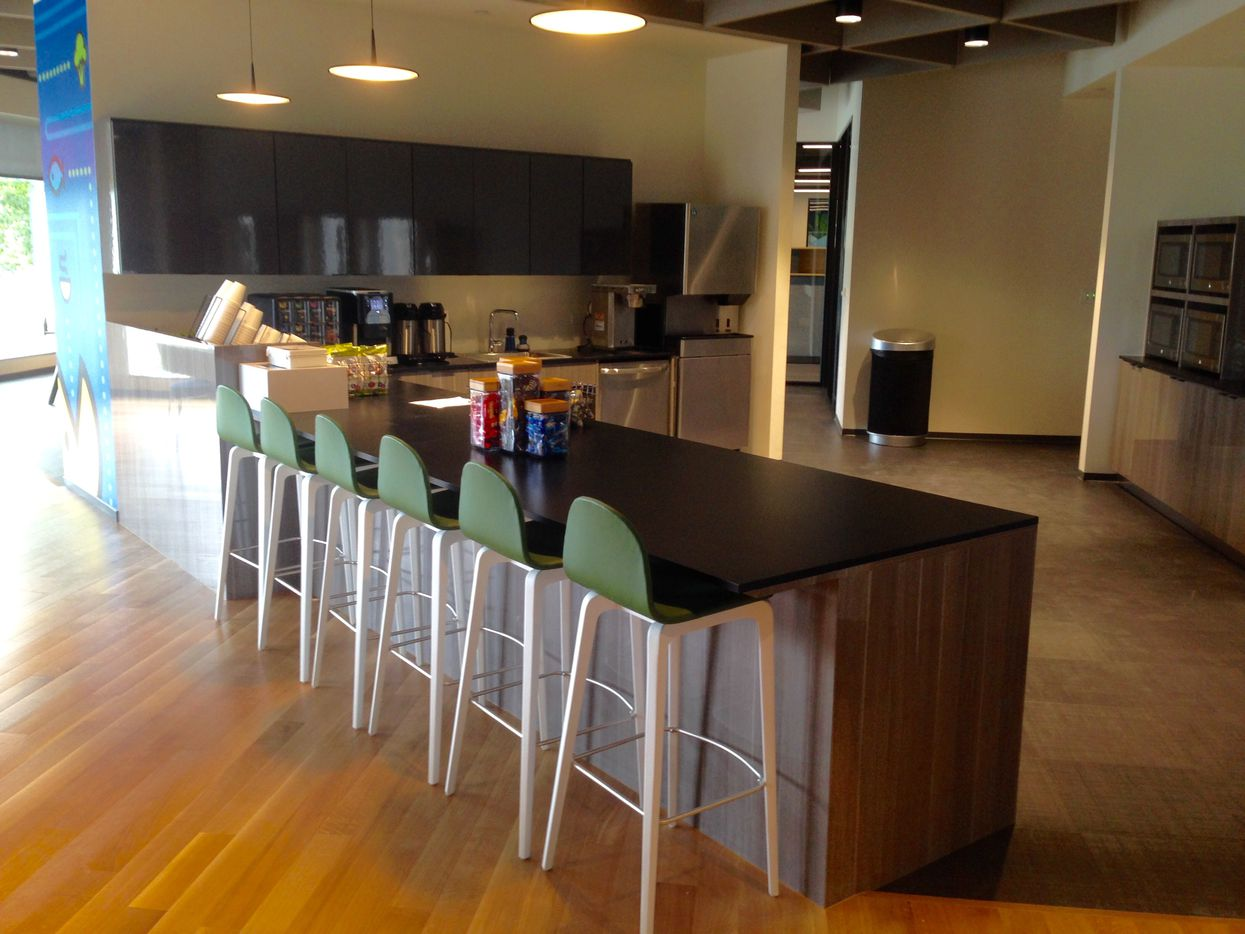 The snack bar in Stream Energy's new Addison headquarters is right off the main lobby.