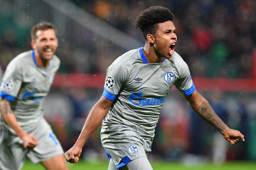 Schalke's US midfielder Weston McKennie celebrates after scoring a goal during the UEFA Champions League group D football match between FC Lokomotiv Moscow and FC Schalke 04 at the RZD Arena in Moscow on October 3, 2018. (Photo by Mladen ANTONOV / AFP)MLADEN ANTONOV/AFP/Getty Images