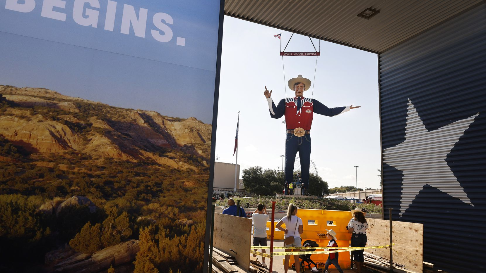 And it begins. Big Tex was lifted and set into place atop Big Tex Circle at the State Fair of Texas, Friday, September 17, 2021. The fair opens to the public next Friday.