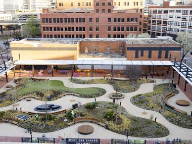 A view of the West End Square park seen from the roof of the Fairbanks Morse & Co. building in Dallas on Friday, March 19, 2021.