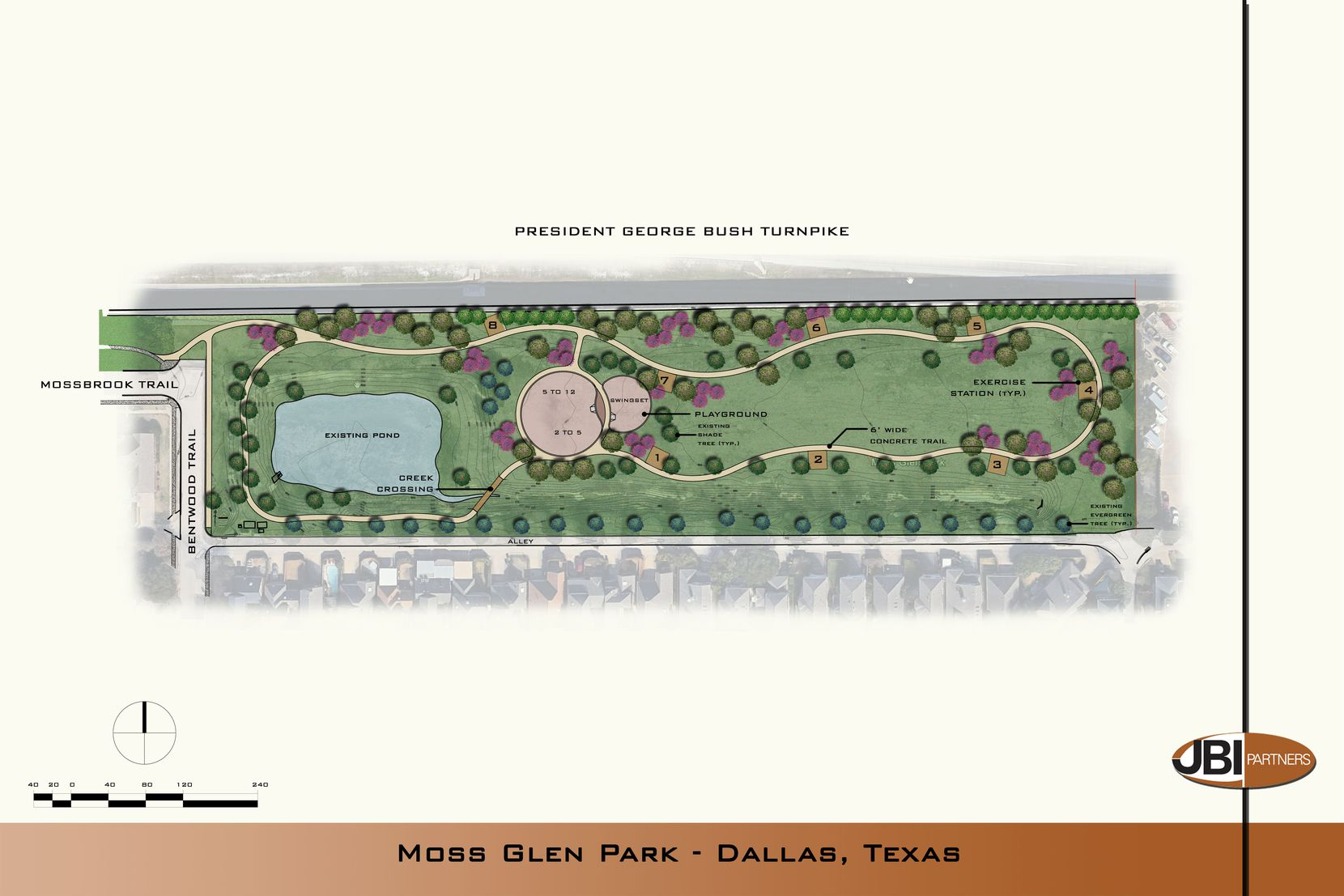 The city's construction plan for new Moss Glen Park in far North Dallas.