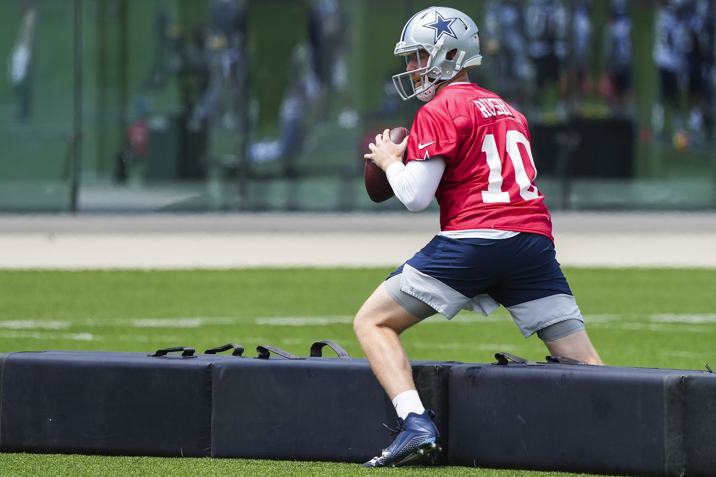 Dallas Cowboys quarterback Cooper Rush runs a drill during a minicamp practice at The Star on Tuesday, June 8, 2021, in Frisco. (Smiley N. Pool/The Dallas Morning News)