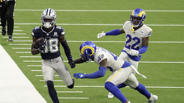 Dallas Cowboys wide receiver CeeDee Lamb (88) runs after a catch against the Los Angeles Rams during the first half of an NFL football game Sunday, Sept. 13, 2020, in Inglewood, Calif.