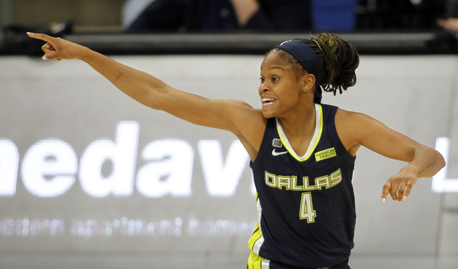 Dallas Wings guard Moriah Harrison (4) reacts after sinking a 3-pointer during first half action against the Indiana Fever. The Dallas Wings hosted the Indiana Fever for their WNBA game held at College Park Center on the campus of UT-Arlington on August 20, 2021. (Steve Hamm/ Special Contributor)