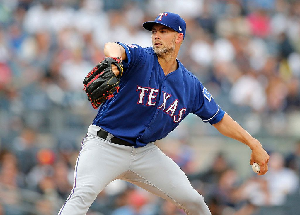 Mike Minor #23 of the Texas Rangers pitches during the second inning against the New York Yankees at Yankee Stadium on Sept. 2, 2019 in New York City. The Rangers won, 7-0. (Jim McIsaac/Getty Images/TNS)