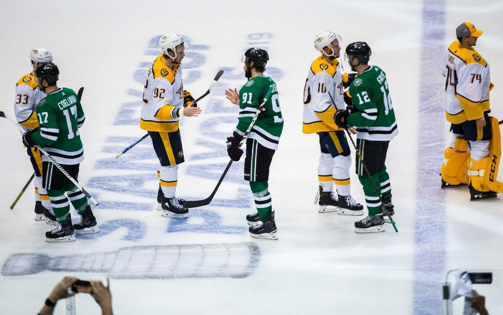 Dallas Stars and Nashville Predators players shake hands after Game 6 of the first round of Stanley Cup Playoffs between the Dallas Stars and the Nashville Predators on Monday, April 22, 2019 at American Airlines Center in Dallas. The Dallas Stars won the game 2-1, and won the series. They will advance to the conference finals to play the St. Louis Blues. (Ashley Landis/The Dallas Morning News)