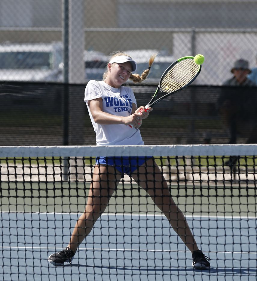 In a 6A mixed doubles match, Plano West's Summer Shannon makes a return on the net. UIL state tennis semifinals at Northside ISD Tennis Center on Thursday, May 20, 2021.