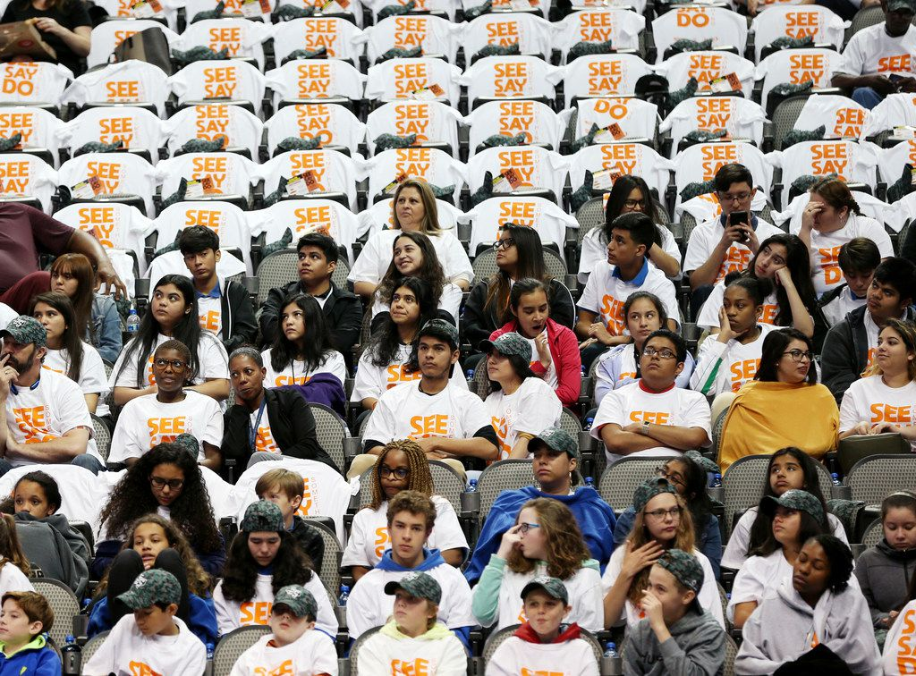 Dallas ISD students gathered during an active shooter prevention and situational awareness training at American Airlines Center in Dallas on Monday.