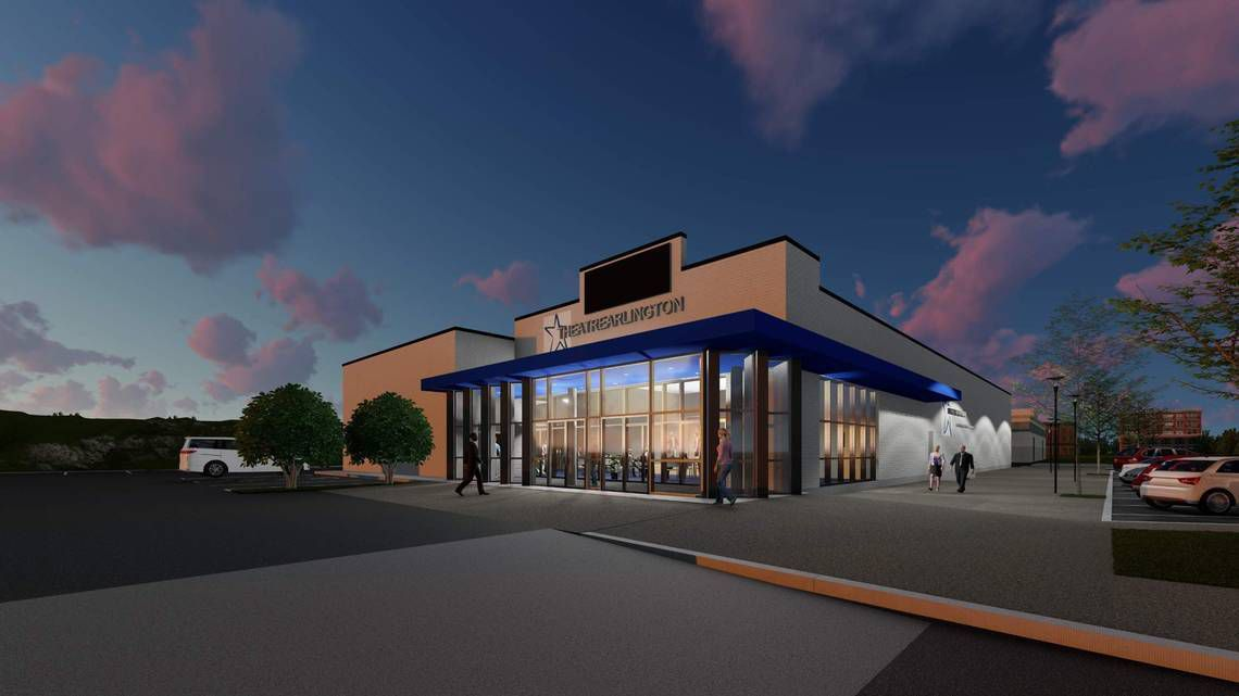 A rendering shows the exterior of Theatre Arlington after a $3 renovation.