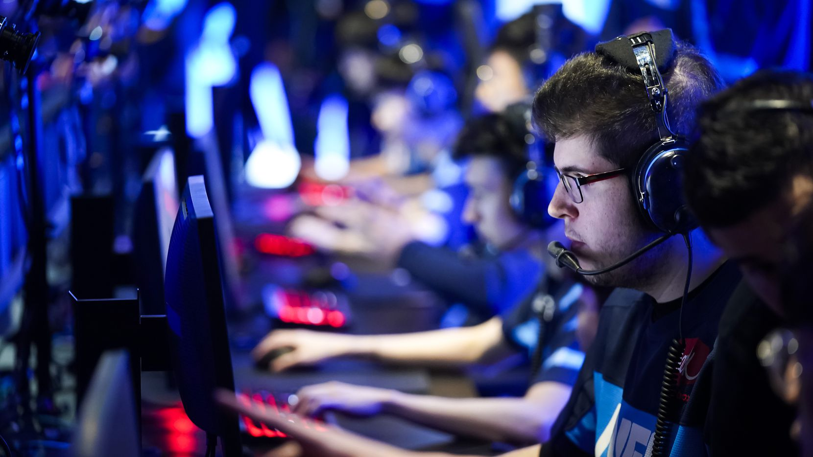 William ÒCrimzoÓ Hernandez of the Dallas Fuel prepares for the start of a Overwatch League match against the Los Angeles Valiant at the Arlington Esports Stadium on Saturday, Feb. 8, 2020, in Arlington.