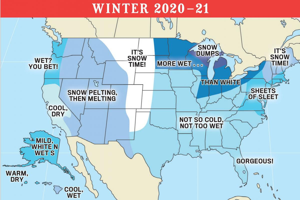 For the Texas-Oklahoma area, The Old Farmer's Almanac predicts a drier and milder-than-normal winter.