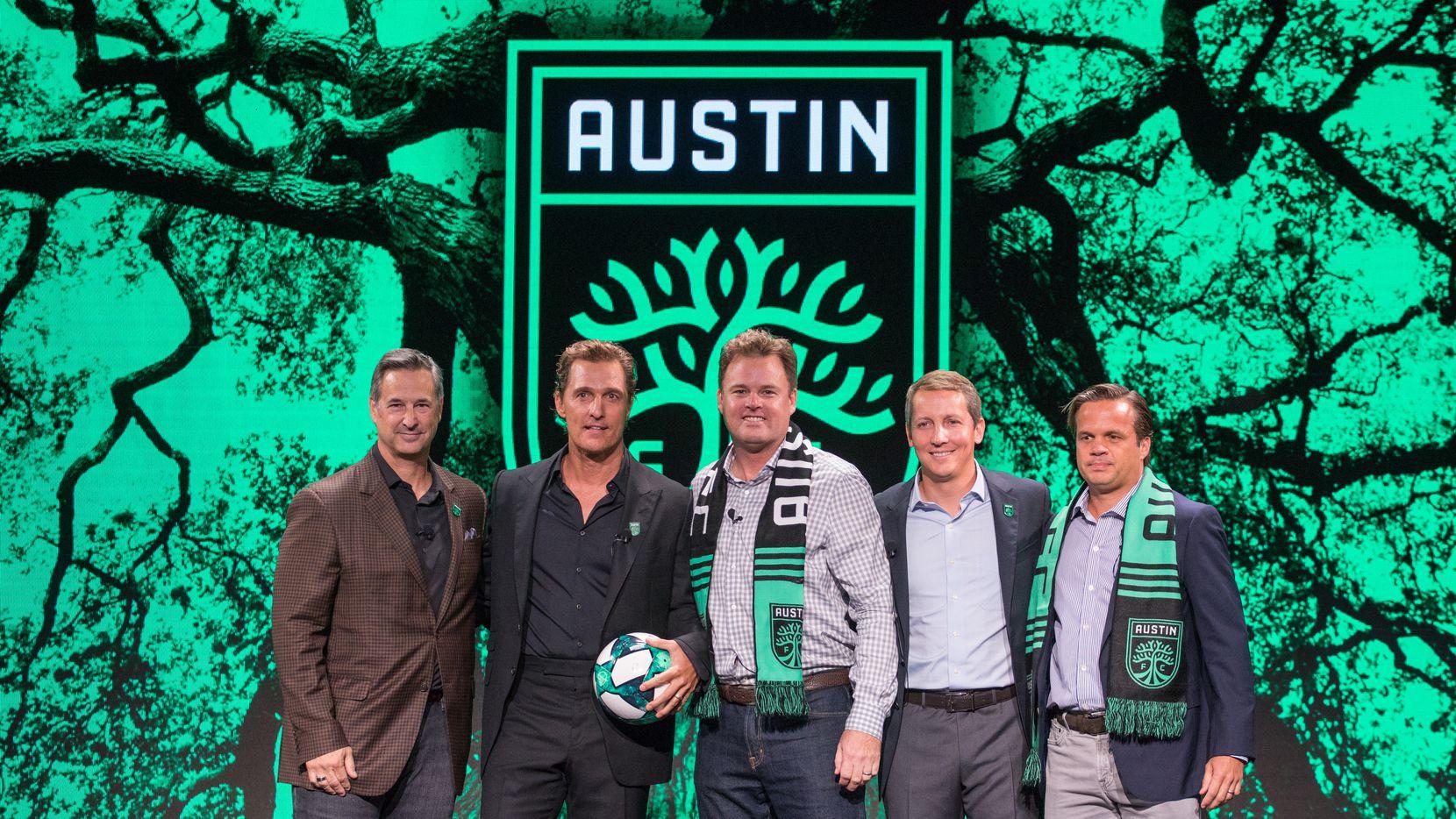 Los directivos del Austin FC en la presentación de la nueva franquicia de la MLS, el 23 de agosto de 2019.