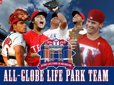 A few nominees for the Rangers' All-Globe Life Park team: (From L to R) Pudge Rodriguez, Yu Darvish, Adrian Beltre, Elvis Andrus, and Michael Young.