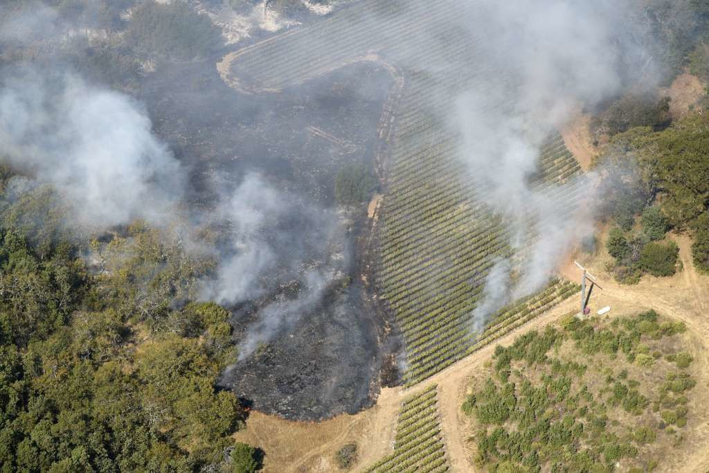 The rapidly spreading wildfires apprach Craig and Kathryn Hall's Walt Ranch vineyards, right.