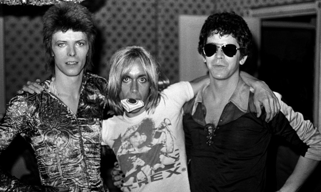 David Bowie (left), Iggy Pop (center) and Lou Reed in London in 1972.