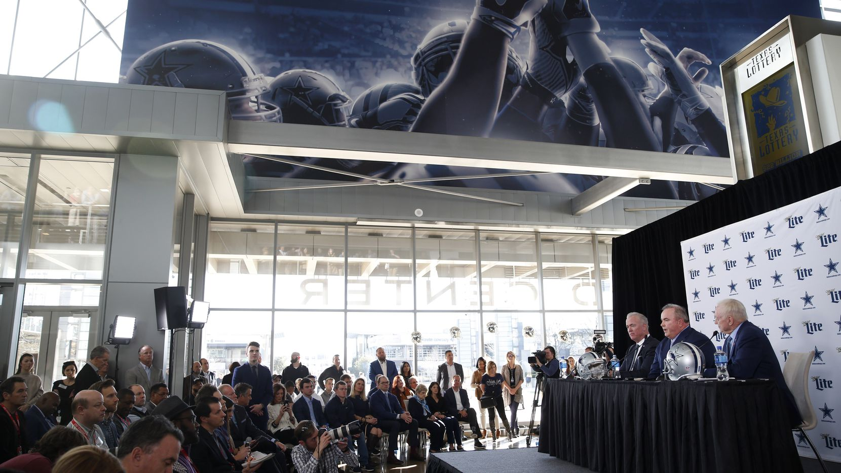 Dallas Cowboys new head coach Mike McCarthy speaks as Dallas Cowboys executive vice president Stephen Jones (left) and Dallas Cowboys owner and general manager Jerry Jones (right) listen during a press conference in the Ford Center at The Star in Frisco, on Wednesday, January 8, 2020.