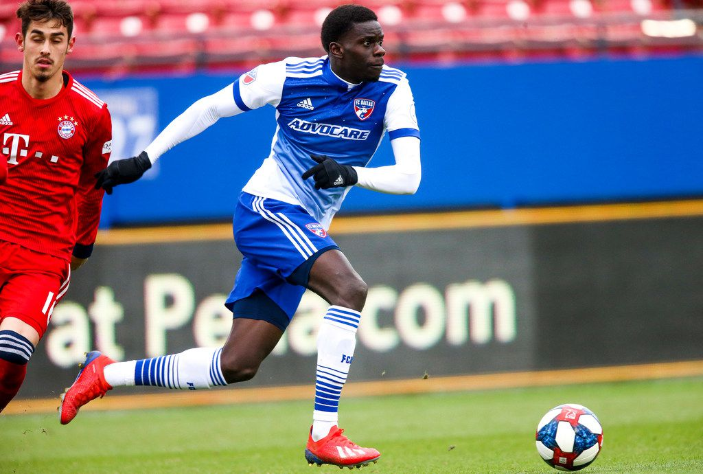 FC Dallas forward Dominique Badji (16) looks to pass the ball away from Bayern Munich during a soccer game at Toyota Stadium in Frisco, Texas on Saturday, Feb. 9, 2019. (Shaban Athuman/The Dallas Morning News)