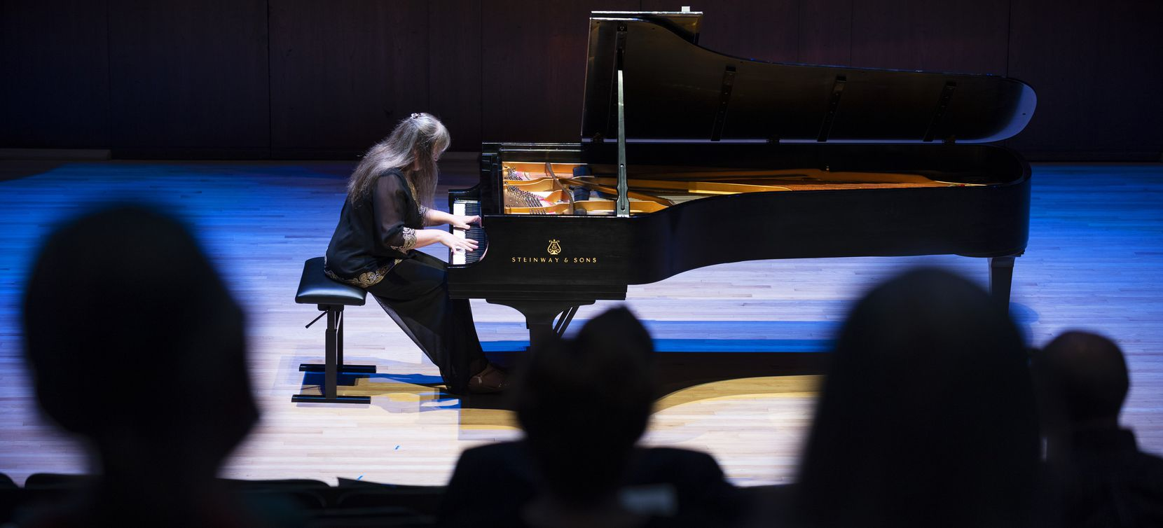 Pianist Liudmila Georgievskaya performs Shostakovich's Prelude and Fugue in D minor (1951) as part of the Voices of Change season opening concert on Sept. 19 at SMU's Caruth Auditorium in Dallas.