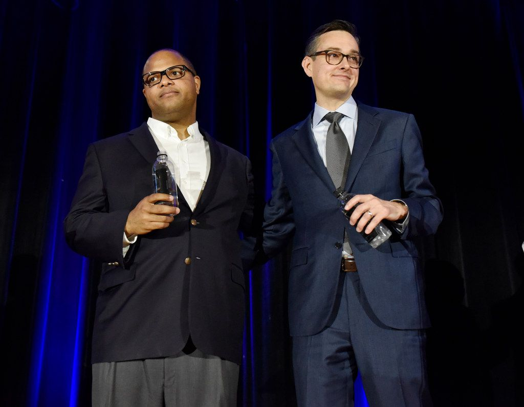 Dallas mayoral candidates Eric Johnson, left, and Scott Griggs  participated in a  forum hosted by the Jewish Community Relations Council of the Jewish Federation of Greater Dallas, May 23, 2019 at the Aaron Family Jewish Community Center in Dallas. (Ben Torres/Special Contributor)