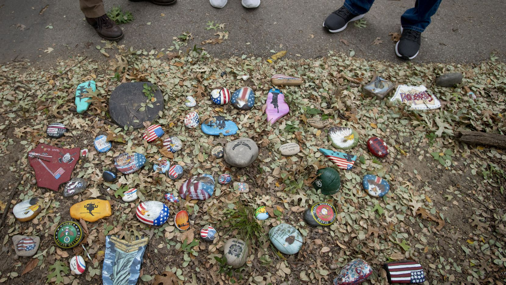 A cluster of rocks devoted to U.S. military branches on the rock art trail at Parr Park in Grapevine, Texas on October 15, 2020.