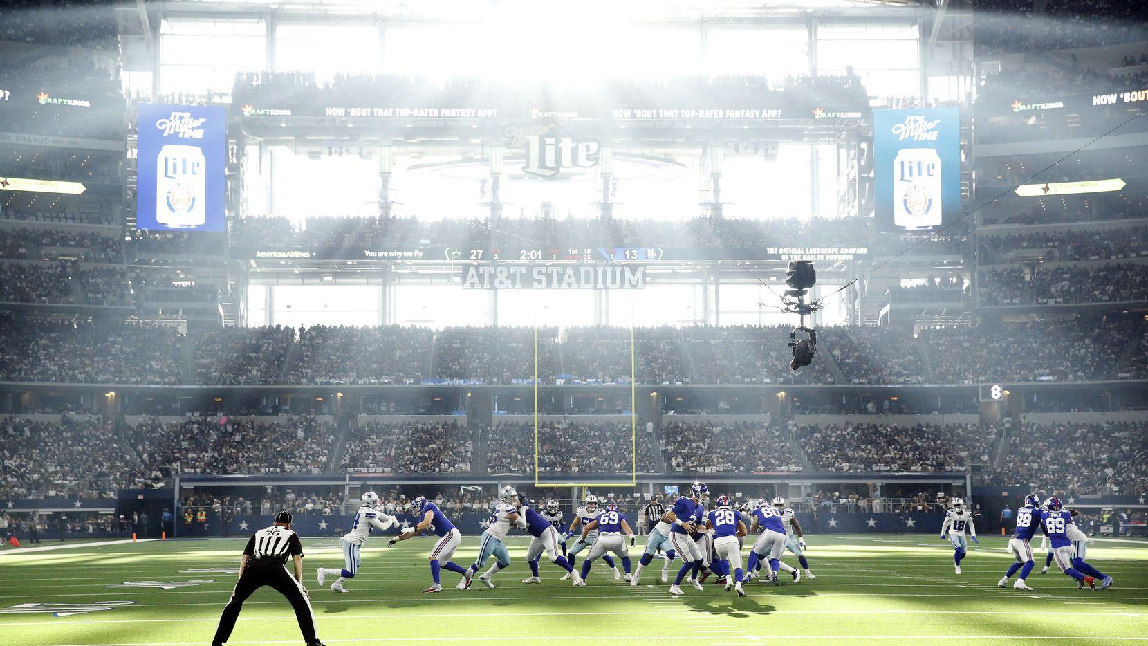 Panorámica del AT&T Stadium en el juego de  los Cowboys de Dallas y Giants de Nueva York, el 10 de octubre de 2021.