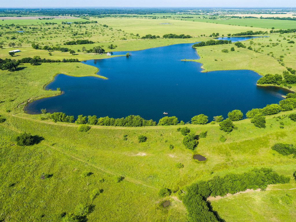 An aerial view of the lake at the Toddie Lee Wynne family's Star Brand Ranch in Kaufman County.