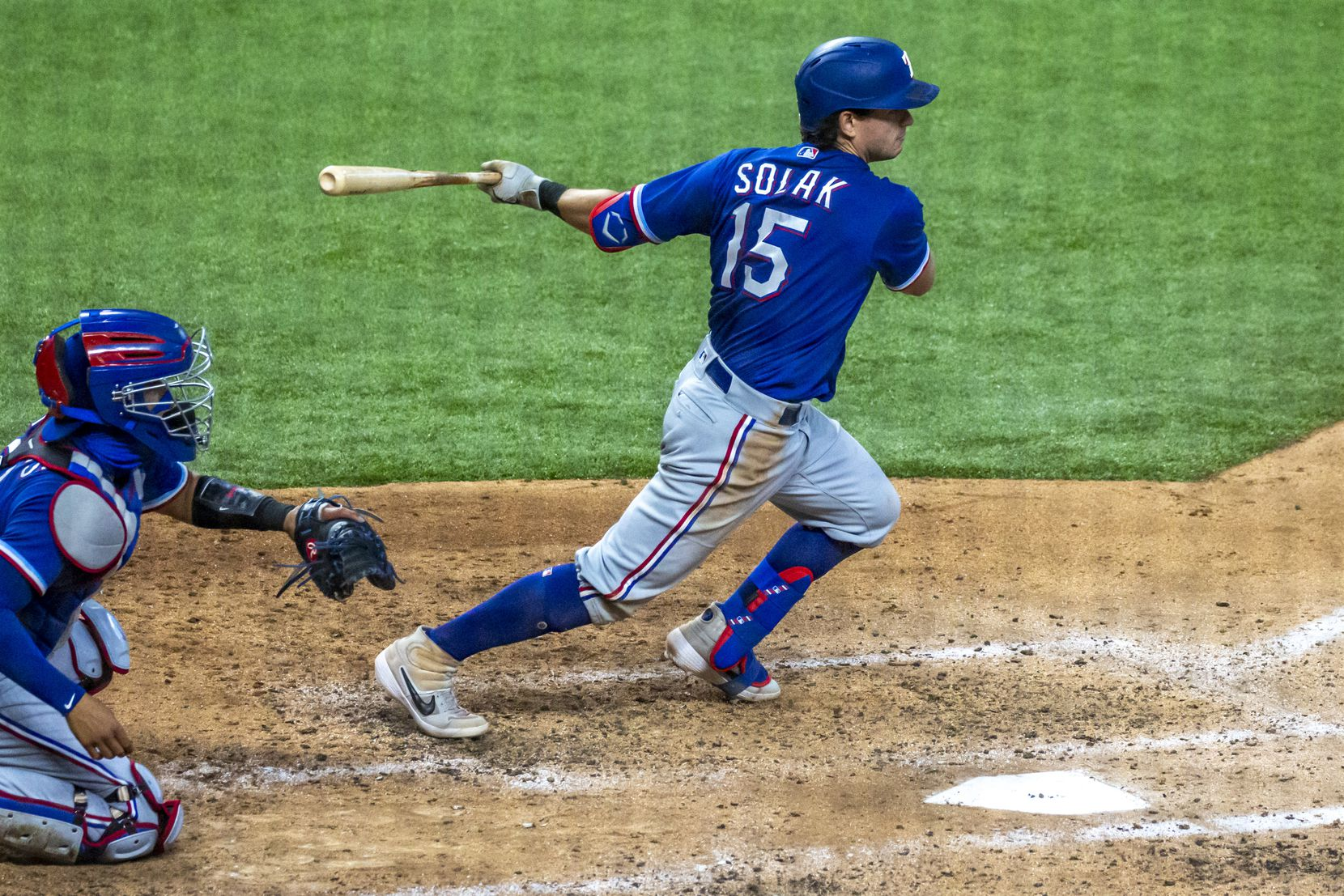 Texas Rangers outfielder Nick Solak runs for first during an intrasquad game at Summer Camp inside Globe Life Field in Arlington, Texas, on Saturday, July 11, 2020.