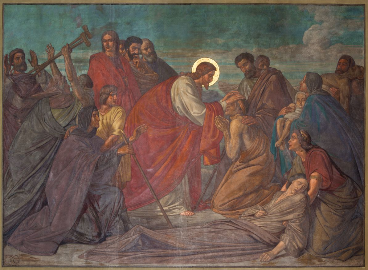 A 19th century fresco of Jesus healing the sick in St. George's church in Antwerp