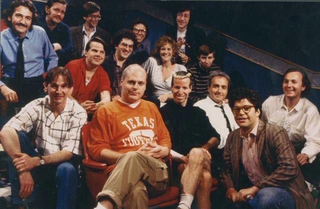 "The writing staff of ""Saturday Night Live,"" 1985-86. Notice that Carol Leifer is the only woman."