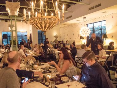 The dining room at the Charles in the Dallas Design District