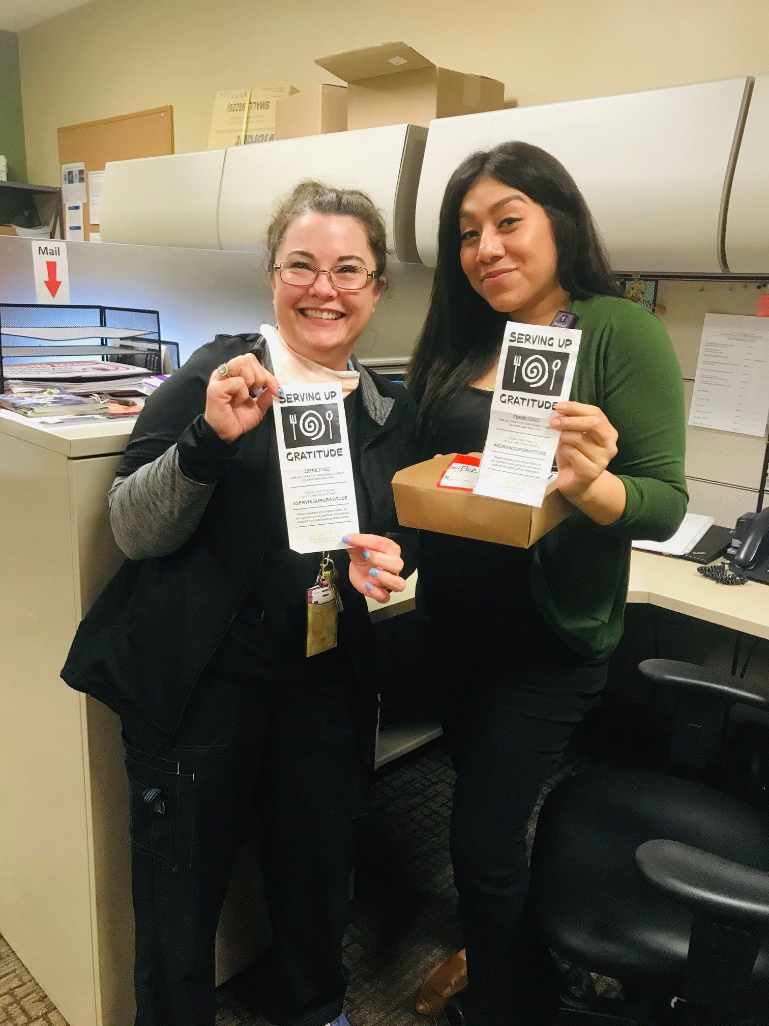 With assistance by the American Jewish Committee s Community of Conscience and other private donors, the Thanks-Giving Foundation has launched Serving Up Gratitude, which purchases a grab-and-go meal from a local restaurant to be delivered to a local hospital worker like those at Parkland.