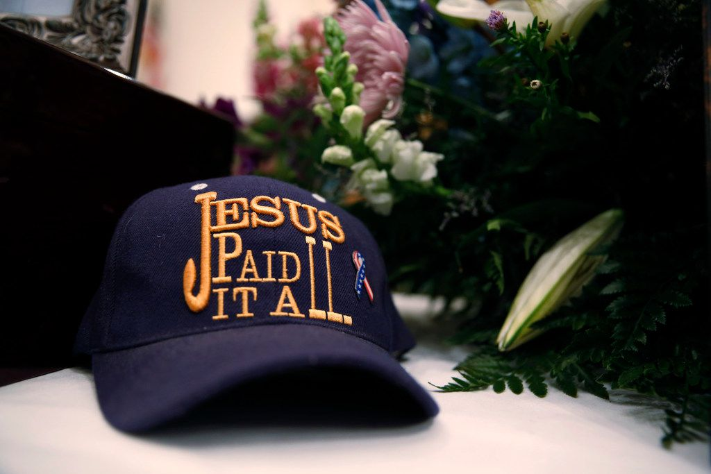 Dennis Johnson's hat at his funeral at First Baptist Church in Floresville, Texas on Nov. 12, 2017. The The Johnson's were killed in the First Baptist Church in Sutherland Springs, Texas the site of a shooting that killed 26 parishioners and left 30 injured. (Nathan Hunsinger/The Dallas Morning News)