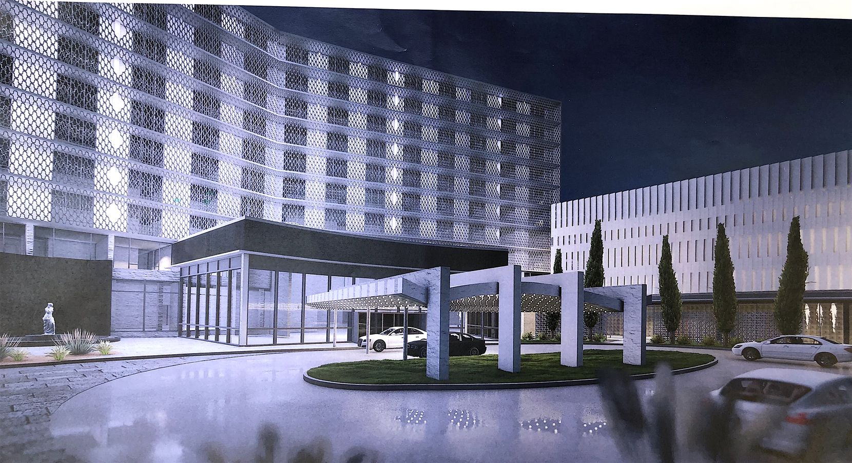An architectural rendering of the restored entry to the Cabana Hotel.