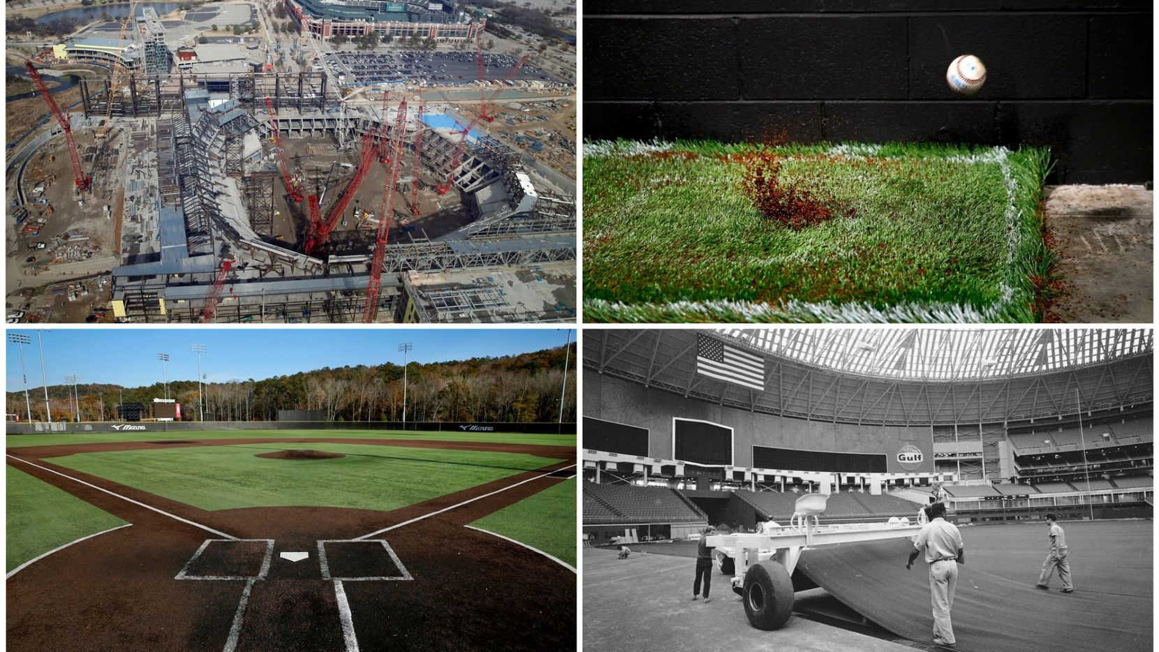 The Texas Rangers are considering going with an artificial turf surface for their new ballpark because of necessity. The technology has come a long way, as Shaw Sports Turf has shown. (Staff and file photos, clockwise from top left: Vernon Bryant, Tom Fox, the Associated Press and Tom Fox)