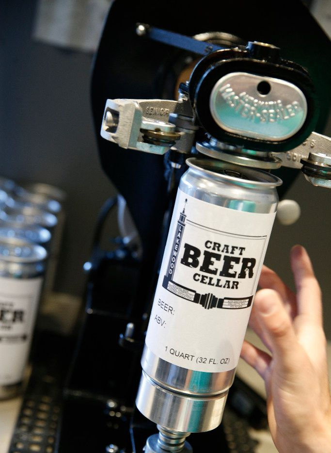 """Craft Beer Cellar is one of several local bars to sell crowlers, """"can growlers"""" filled with draft beer for drinkers to take to-go."""