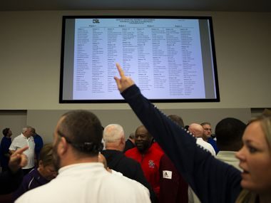 Dallas-area coaches and athletic directors react to the UIL realignment announcement at the Birdville Fine Arts/Athletics Complex on Feb. 3, 2020 in North Richland Hills.