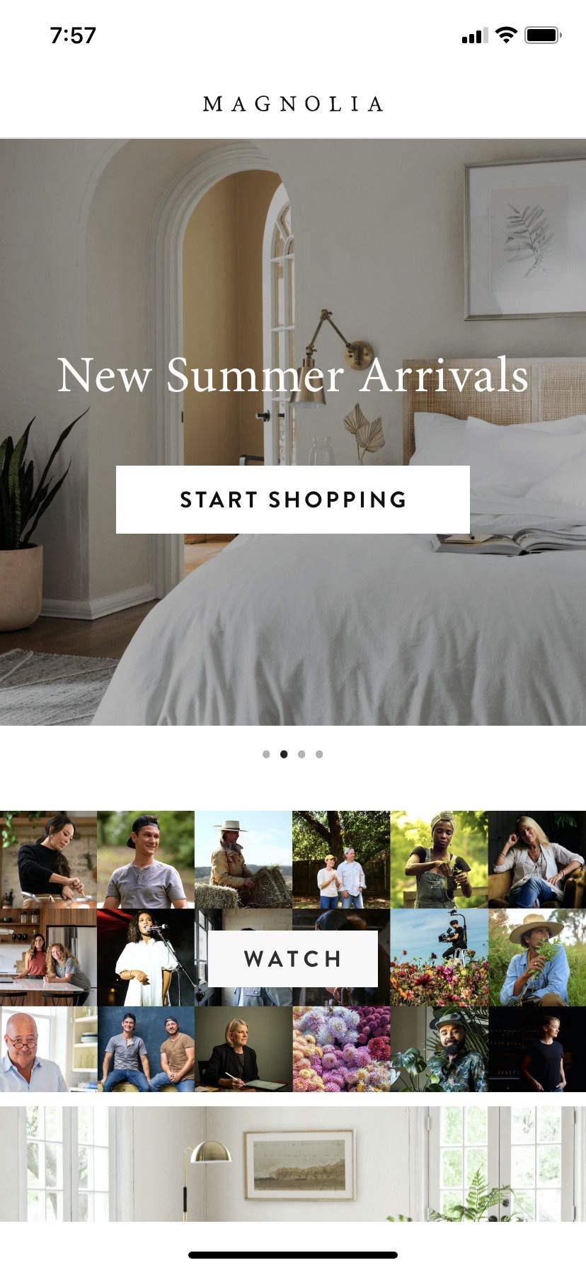 Screen grab of the direct link to Magnolia shopping on a new mobile streaming app launched July 15 for the Magnolia Network, a joint venture between Chip and Joanna Gaines and Discovery Inc.