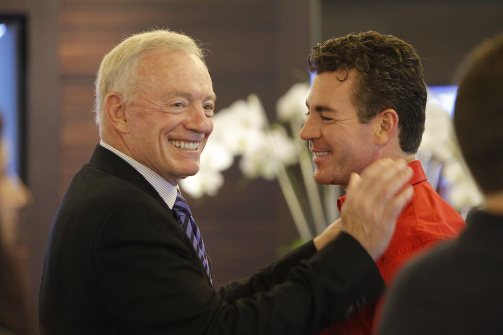 Dallas Cowboys owner Jerry Jones and Papa John's founder John Schnatter film a Papa John's commercial at Cowboys Stadium in Arlington.