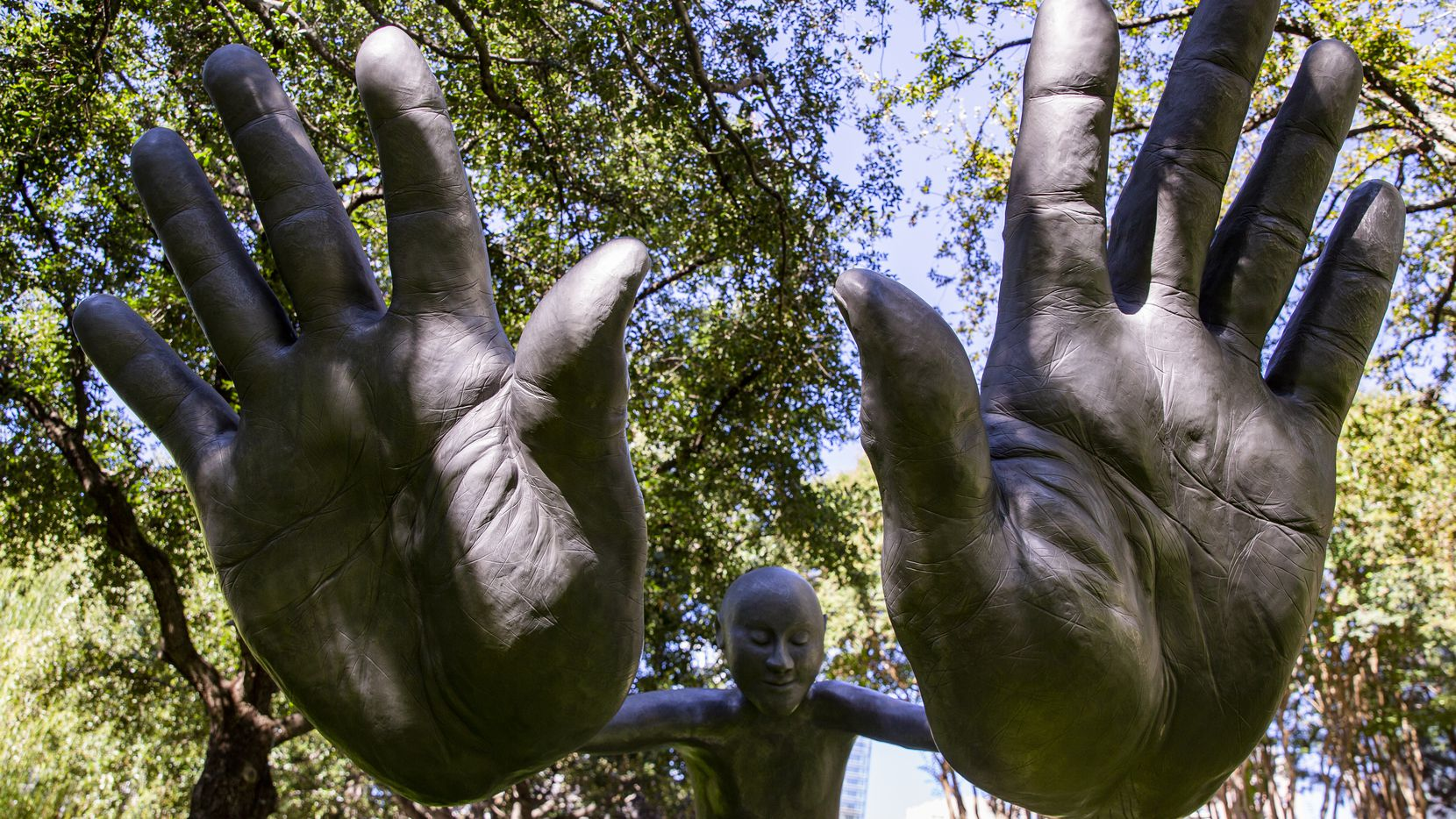 """bighands"" by Dallas artist Nic Nicosia was recently acquired by the Nasher and installed in the sculpture garden."
