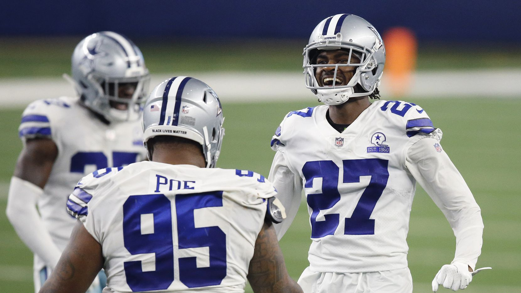 Dallas Cowboys cornerback Trevon Diggs (27) is excited about his fourth quarter stop of the New York Giants at AT&T Stadium Stadium in Arlington, Texas, Sunday, October 11, 2020.