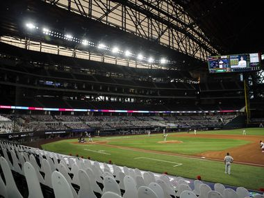 Texas Rangers starting pitcher Kyle Gibson (44) throws to the Oakland Athletics during the first inning in an empty Globe Life Field in Arlington, Texas, Tuesday, August 25, 2020.
