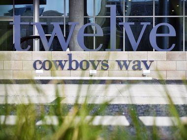 The main sign outside of Twelve Cowboys Way luxury residential tower at the Star in Frisco.