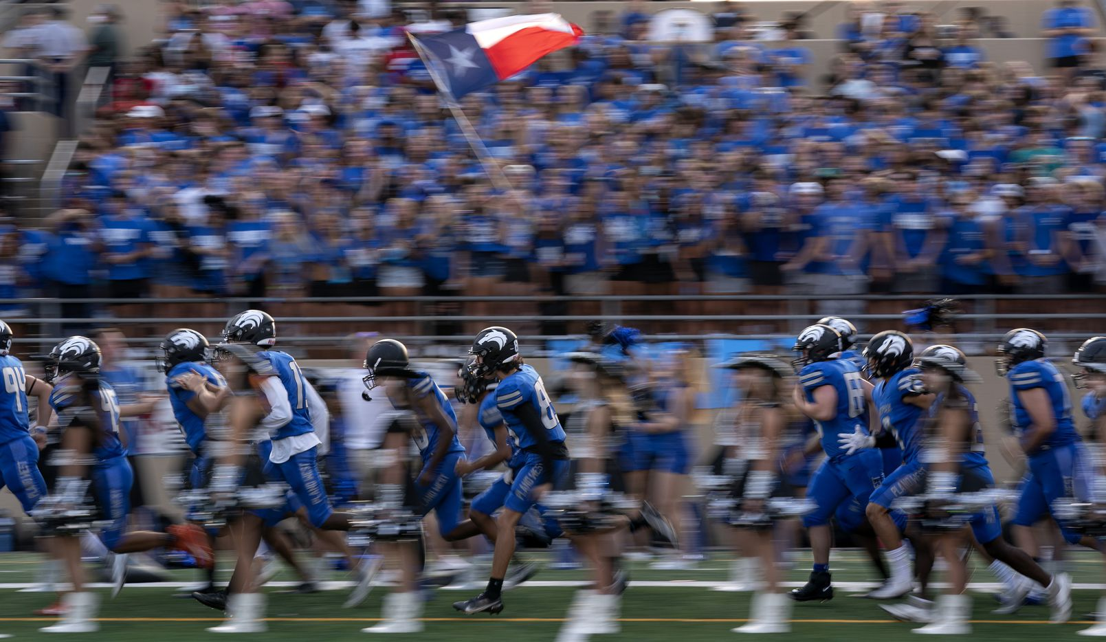 Plano West takes the field before a high school football game against Little Elm on Friday, Sept. 10, 2021 at John Clark Stadium in Plano, Texas. Little Elm won 35-31. (Jeffrey McWhorter/Special Contributor)