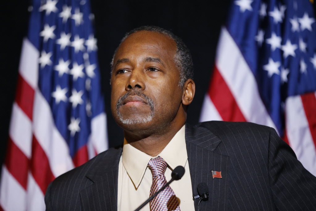 In this Nov. 16, 2015 photo, Republican presidential candidate Dr. Ben Carson speaks at a news conference in Henderson, Nev.