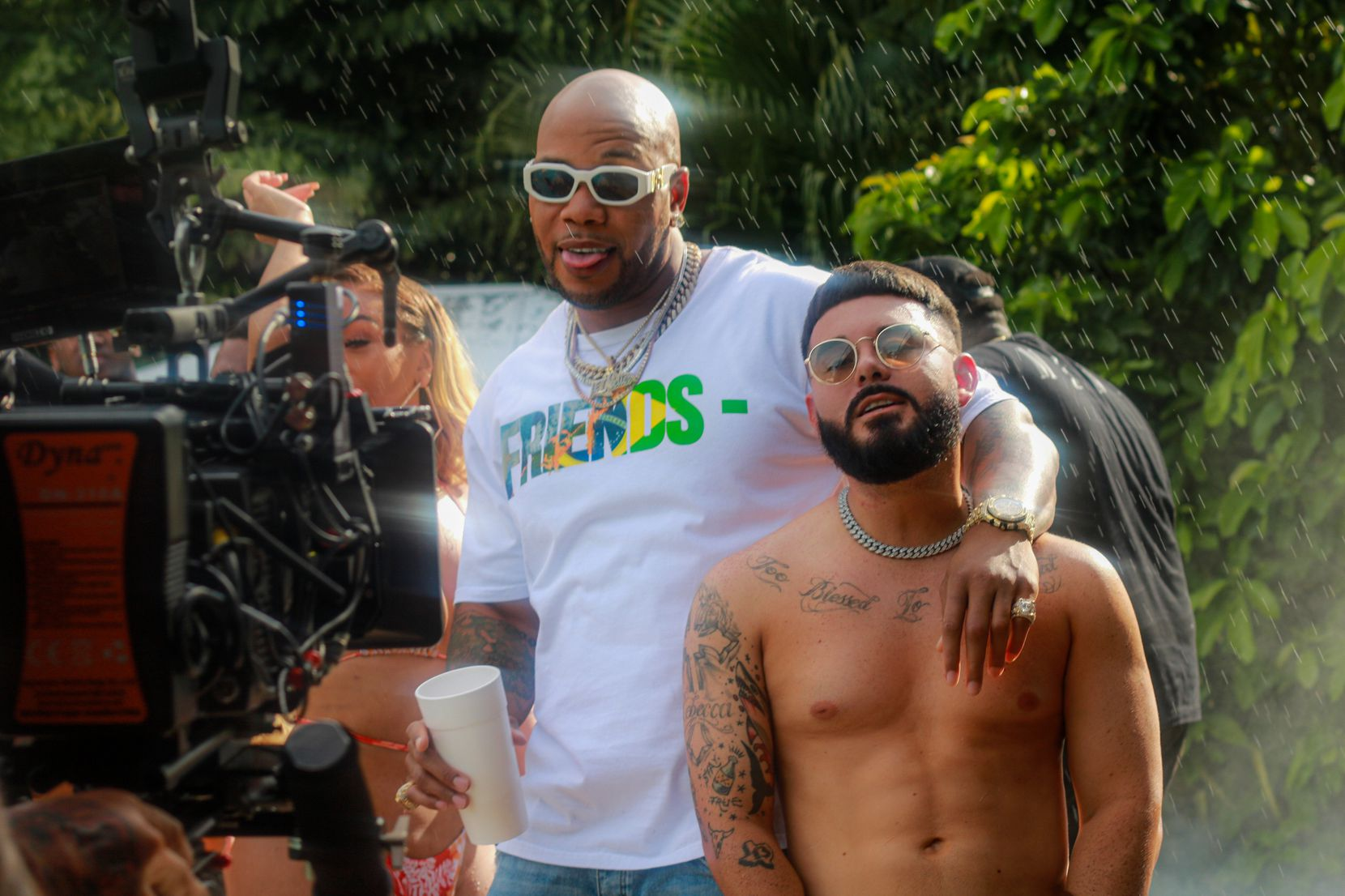 """NATEGAWD poses with Flo Rida, who appeared in the music video for """"Take a Shot and Make a TikTok."""""""
