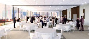 A rendering of the rooftop special events space in the renovated records building. Image courtesy of GSR Andrade Architects