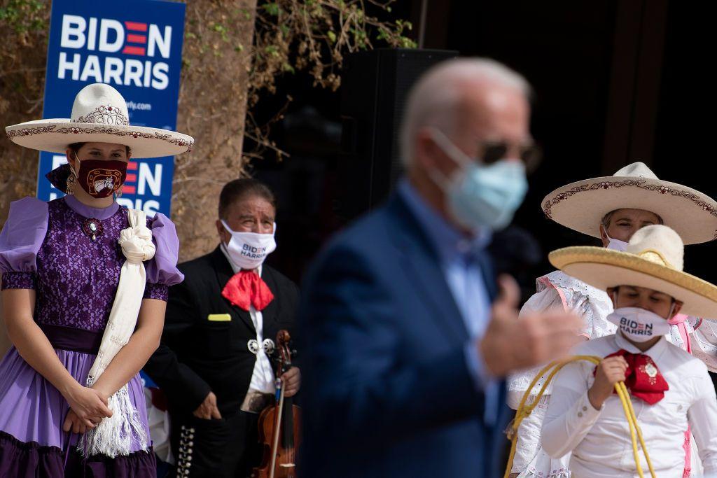 El entonces candidato demócrata Joe Biden habló en un evento de apoyo en  Vegas el 9 de octubre de 2020, días antes de la elección presidencial.