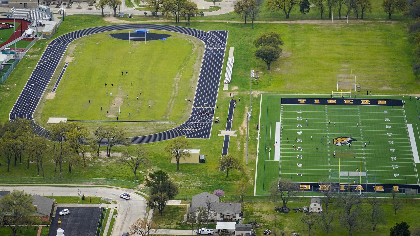 Aerial view of athletic fields at Irving High School.