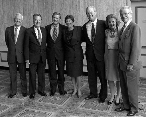 FILE -- The past seven Dallas city mayors,  from left, Starke Taylor, Wes Wise, Steve Bartlett, Adlene  Harrison, Robert Folsom, Annette Strauss, and Jack Evans were in  attendence as well as students from the DISD in 1993.